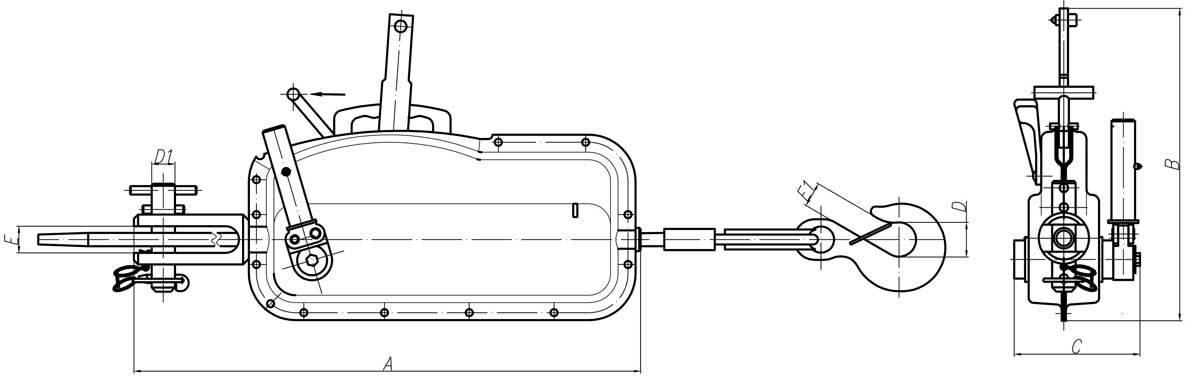Чертеж ручные лебедки МТМ 1.6т. Схема