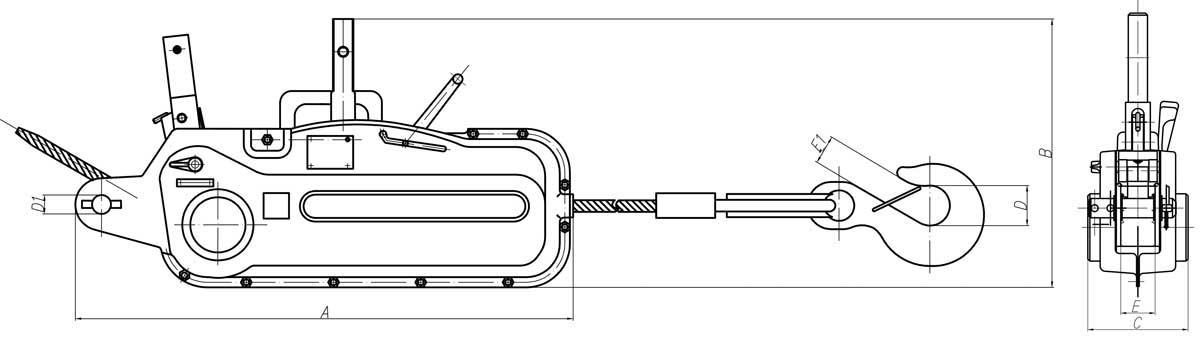 Чертеж ручные лебедки МТМ 3.2т. Схема